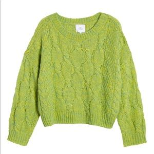 JOA Lime Green Oversize Pullover